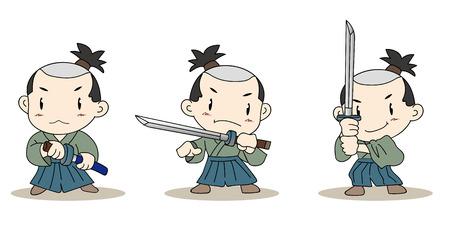 日本文化の侍の文字 3set ベクトル材料  イラスト・ベクター素材