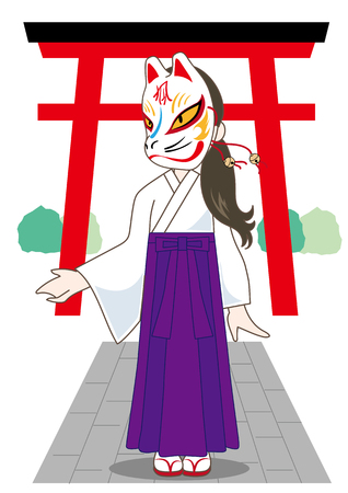 Woman with japanese fox mask-Vector material of Japanese culture