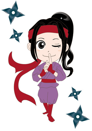 Cartoon illustration of a woman ninja  Kunoichi, isolated on white background