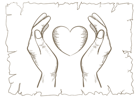 Heart and hands Retro Line Art-vector illustration of hand drawing