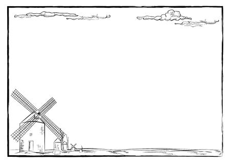 Windmolen van Retro-lijn kunst-Vector illustratie van de hand tekening