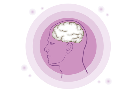 recollection: Brain in purple vector illustration