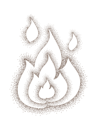 conflagration: Vintage  drawing of fire