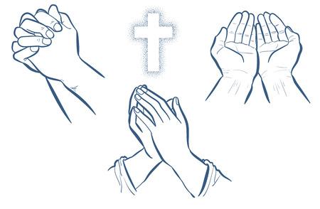 Conjunto de manos de oración