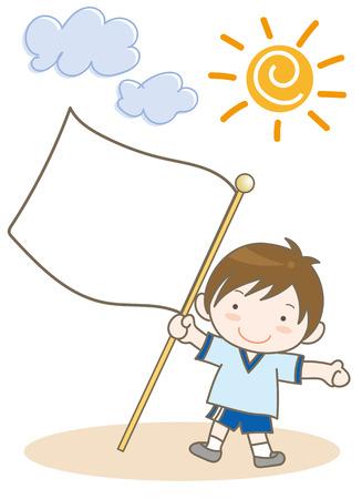 Boy with a flag Vector illustration. Illustration
