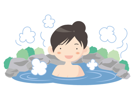 Woman in hot spring, Vector illustration.