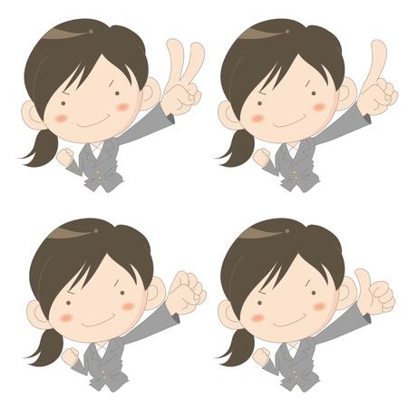 Super business woman set on white background, vector illustration
