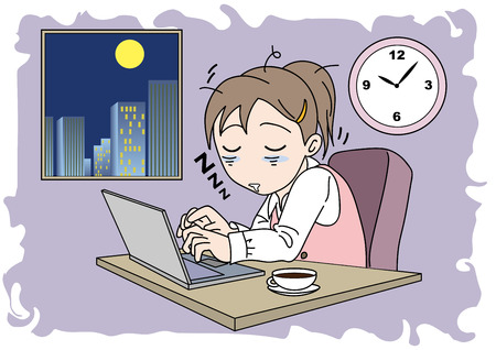 Overtime woman image, sleepiness illustration.