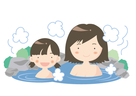 Hot spring image of parent and child.