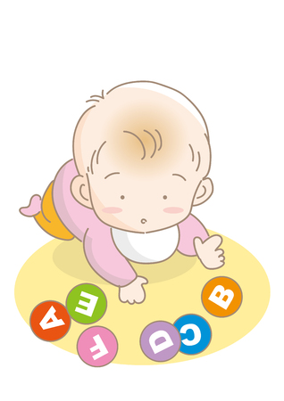 Infant playing with alphabet cards.