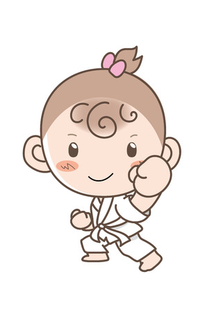 Girl learning karate Illustration