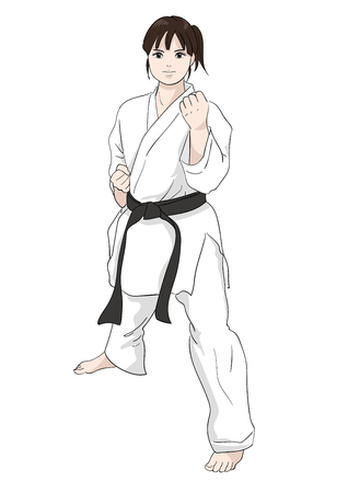Karate pose / Vector material of Japanese culture Çizim