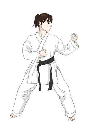 Karate pose-Vector material of Japanese culture Çizim