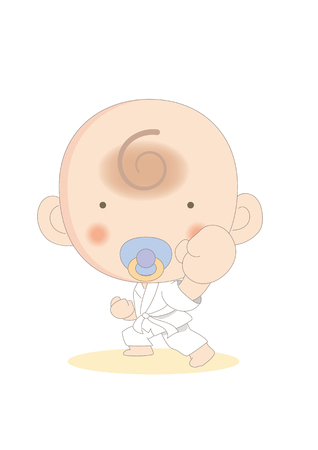 Baby learning karate-vector.