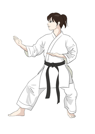 Karate pose-Vector material of Japanese culture  イラスト・ベクター素材