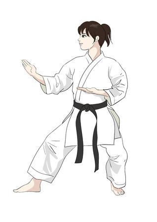 Karate pose-Vector material of Japanese culture Vettoriali