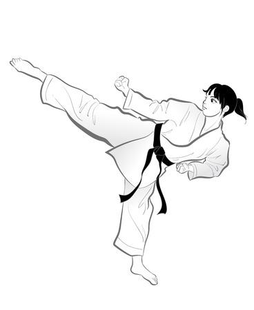 Karate kick pose-Vector material of Japanese culture
