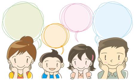 Speech balloon-family image. Illustration