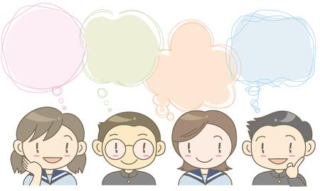 Speech balloon-student image. Illustration