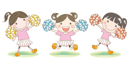 Vector illustration of three little girls cheerleading.