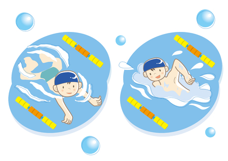 Swimming classroom, two boys is swimming illustration