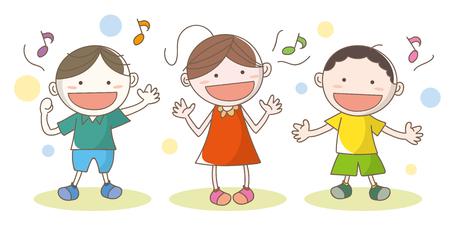 Children who enjoy singing songs Illustration