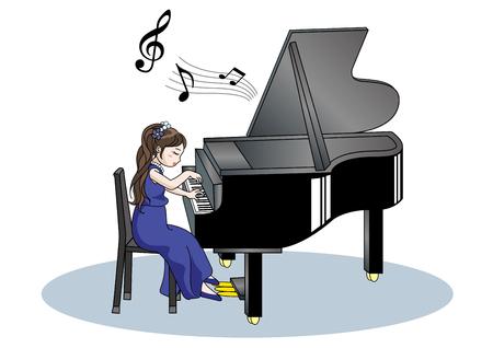 Piano recital image-Woman Stock Illustratie
