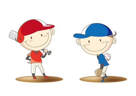 Elementary school student baseball confrontation image