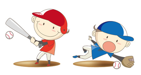 Elementary school student baseball confrontation image Vectores