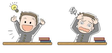 Cartoon character illustration of a student. Illustration