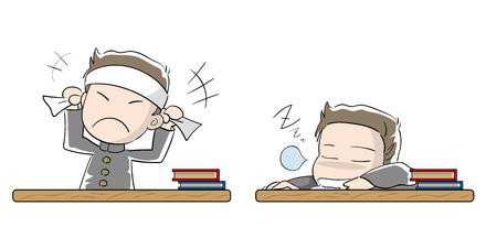 Student boy set · Motivation and laziness 일러스트