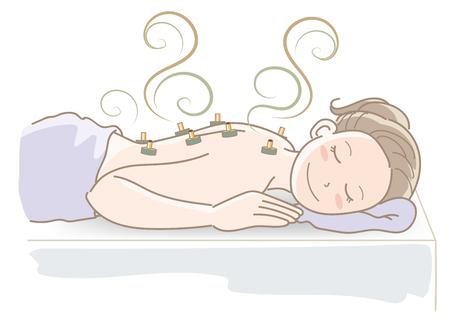 Moxibustion cute woman image Illustration