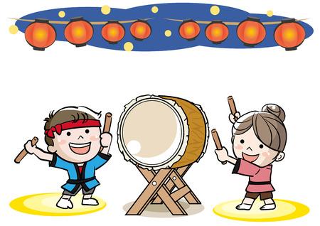 和太鼓「和太鼓」フェスティバルイメージ  イラスト・ベクター素材