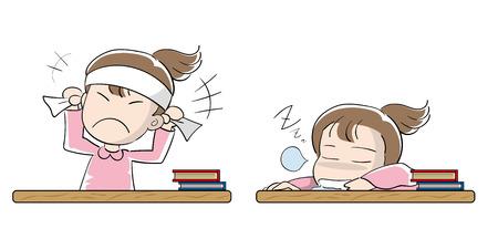 Student girl set - Motivation and laziness Illustration