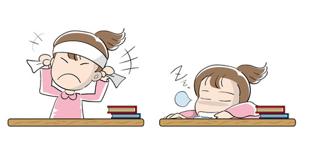 Student girl set - Motivation and laziness Illustration