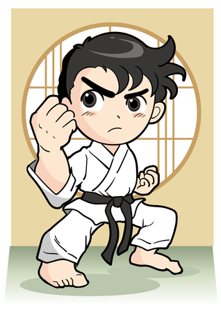 Karate pose, Vector material of Japanese culture