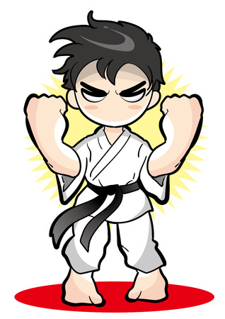 Karate pose, Vector material of Japanese culture