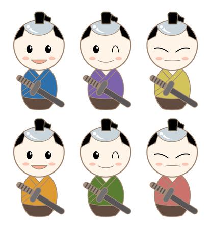 KOKESHI Avatar Set - Samurai Stockfoto - 93453243