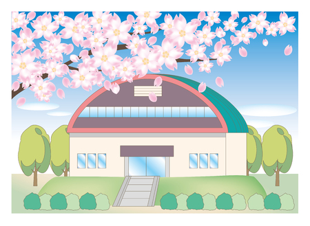 Cherry tree and school landscape - gymnasium illustration. Иллюстрация