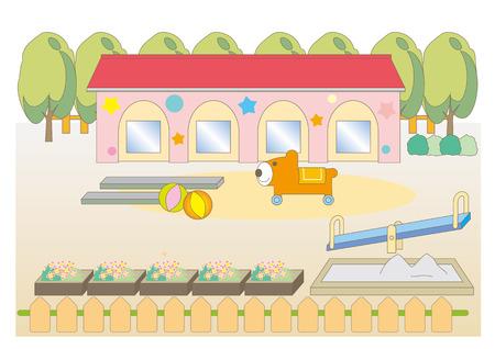 School landscape for preschool children.