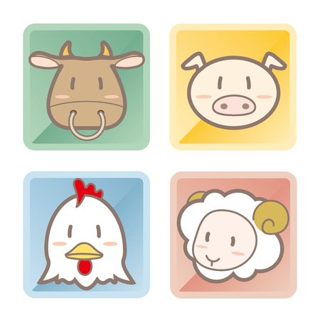 Set of different animals in square frames.