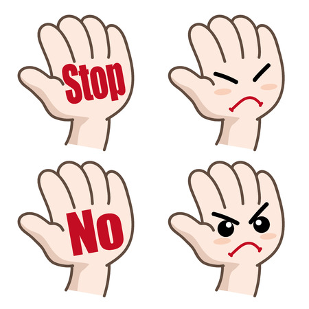 """Conjunto de pictogramas de mano """"stop"""" o """"No"""" Ilustración de vector"""