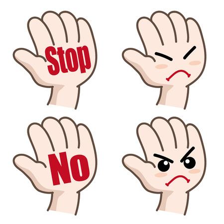 "Handpiktogramm-Set ""Stop"" oder ""Nein"" Vektorgrafik"