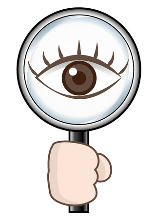 Magnifying glass and eye