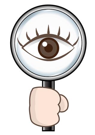 Vergrootglas en oog