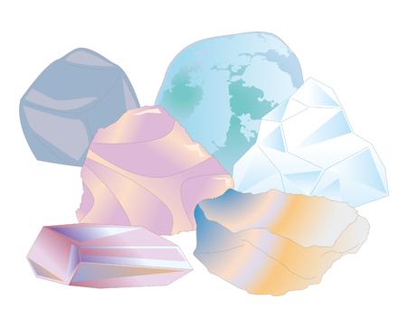 Colorful natural stone set vector illustration
