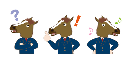 Horse businessman character illustration.