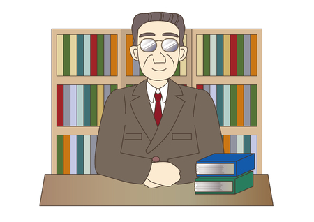 Image of lawyer or judicial scrivener with book background