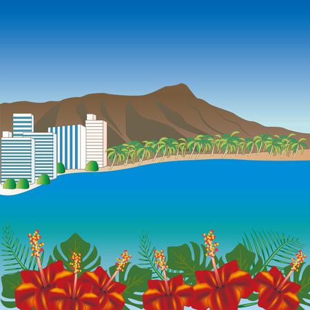 Hawaii Waikiki Beach scenery