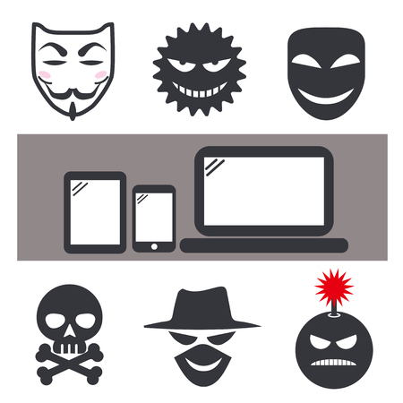 internet crime and Anonymous mask icon set